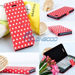 2015 New Flip Stand Polka Dot Leather Wallet Case For IPhone 5 5G