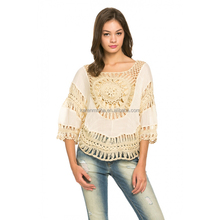 Lady's 3/4 Sleeve Knitted Crochet Top