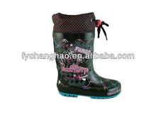 Fashion rain boots high heel shoes for children kids cheap rubber boots