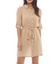 Custom design quality chiffon shirt dress casual new brown dress