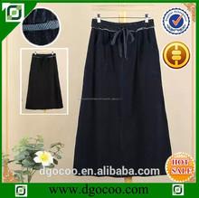 servicio del oem de estilo largo de color azul oscuro dril de algodón de punto con cinturón de faldas