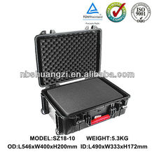 Flight case with wheels plastic waterproof case with and foam insert