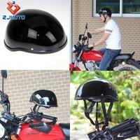 HT-5009-BK Custom Skull Cap Novelty Low Profile Motorcycle Half Helmet Gloss Black Half Helmet For Chopper Bobber Cruiser Bikes