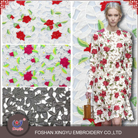 New Fashion rose hollow out embroidery designs ladies tops polyester mesh lace fabric for evening dress