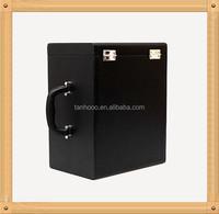 black color 6 bottle faux case PU leather wine carrier / box / case