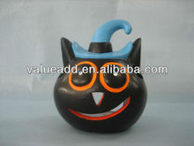 terracotta halloween cat candle holder