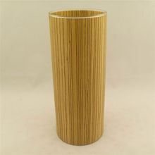 popular long wood material package glass candle holder