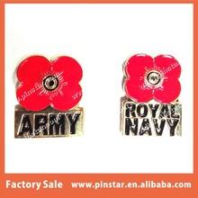 Factory Directly Custom Poppy Metal Pin Badge, Army, Royal Navy