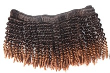 Female star 8a grade human hair kinky curly hair weft 8a Malaysian Ombre color hair extension