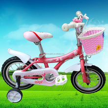 Pink color 12 inch girls children bicycle with basket