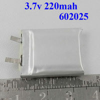 602025 3..7v 220mah lithium polymer battery for bluetooth security camera
