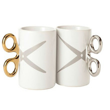 Personalized Silver Golden Knuckle Duster handle scissors ceramic coffee cup porcelain mug scissors design