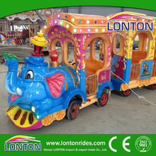 Children loved amusement park rides electric train with elephant trackless train for sale