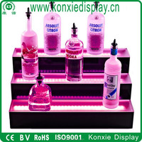 wholesale three tiers acrylic LED liquor bottle display shelf