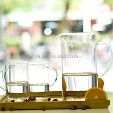 OEM branded pitcher drinkware supplier direct sale handmade design juice water mug 450ml clear borosilicate glass pitcher cup