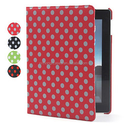 Protective Rotatable Dots Style PU Leather Case & Stand for iPad 2/3/4