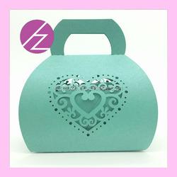 New design laser cut handbag design candy box /cake box with heart shape and love TH-151
