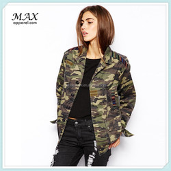 2015 hot sale women camo jacket with tapestry poilar pocket design women jacket