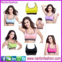 Wholesale various colors u neck cross back sport bra women