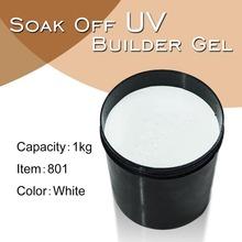 #801W grueso del clavo del constructor uv gel francés blanco 1 kg materias primas para la extensión del clavo ultravioleta del constructor del gel