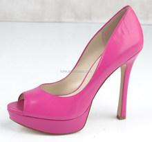 So beautiful ladies high heels platform fuschia leather ladies plain shoes