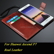 For huawei ascend p7 flip real leather phone case with strap cash card slots