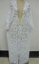tamaño grande del algodón del ganchillo del vestido del patrón de flor / largo abrigo de gran tamaño