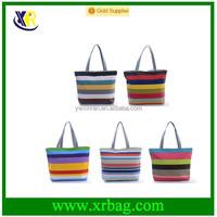 Fashion Lady Girl Casual Striped Handbag Shoulder Canvas Tote Shopping Bags