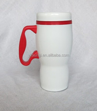 Promotional double wall travel mug with handle ,plastic inner ,stainless steel outer,plastic mug
