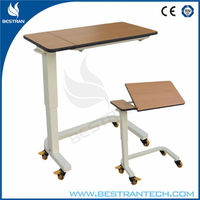 China BT-AT007 Used hospital bedside table overbed table with wheels hospital tilt dinning board price
