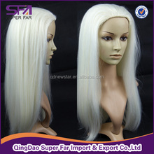 wholesale best factory price white color machine made wig synthetic hair wigs