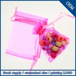 High Quality 9x12cm Pink Drawstring Small Organza Bags For Crystal Necklace Pendant
