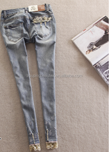 2015 new thin women denim lace jeans with wholesale rock revival jeans and the low price