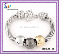 Fashion silve snake chain bracelet 2015 with three color ball