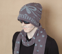 2015 newest fashion trend hot-selling Autumn winter knitted men Jacquard hat and Scarf set