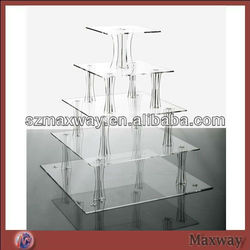 Crystal assembled square 5 tiers plexiglass cupcake display stand
