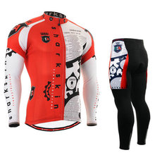 G401 Red Shark Skin/ Breathable Non-Slip Silicone Band Long Sleeve Cycling Jersey & Pants Men's / Sport Suit Clothing S~3XL