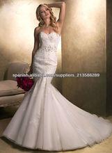 2013 amor rebordeó venta caliente por encargo encaje vestidos de boda de la sirena CWFXw18