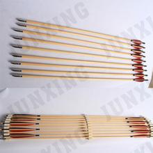 wood shaft arrow with bullet arrow head for compound bow
