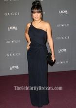 Celebrity Inspired Salma Hayek LACMA 2012 Art + Film Gala Black One Shoulder Dress