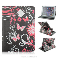 The Black Butterflies Pattern PU Leather Flip Stand Tablet Covers Case For iPad Air 2 with Elastic Belt Made in China