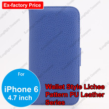 Litchi Skin Flip Wallet Card Pouch Stand Leather Case Cover For iPhone 6