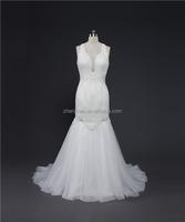 Real Sample MN-W220 Ivory High Neck See Through Back Heavy Pearls Beaded Mermaid Wedding Dresses 2016