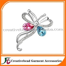 Hot sell 2015 wholesales high quatity fashion girl jewelry decoration butterfly rhinestone brooches in bulk