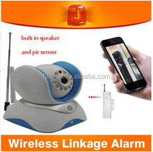 FDL-WF5 smart home security linkage alarm ip base one key alarm/disalarm build in micphone 2 way audio night vision ip camera