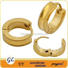 Women jewelry Double line gold plated stainless steel young girl earring jewelry set
