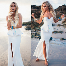 OEM Women Sexy White Strapless Gown Party Dress Summer Cocktail Dresses