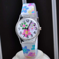 Beautiful floral printing plastic ladies/children watch