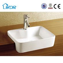 New counter square semi recessed ceramic bathroom