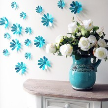 Funlife 3D Wall Stickers Flowers Blue Sunflower Wall Sticker for Kids Room Decoration FF2WF018